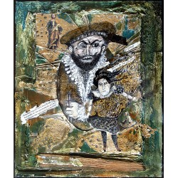 Acrylique, dessin, collages sur bois 28 cm X 23 cm, 1996