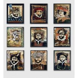 9 toiles Acrylique, dessin, collages sur bois 28 cm X 23 cm, 1996