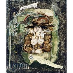 Acrylique, dessin, collages sur bois 28 cm X 23 cm, 1995