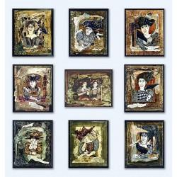 9 toiles Acrylique, dessin, collages sur bois 28 cm X 23 cm, 1995