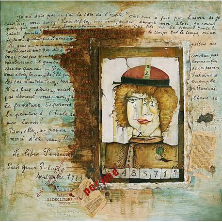 Peinture collages sur toile 100 cm X 100 cm, 1989